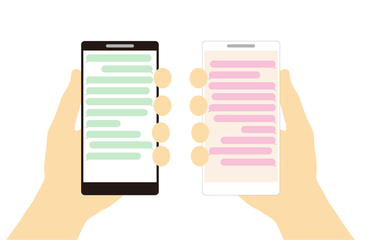 Male and female hands and chat screen with white and black smartphone