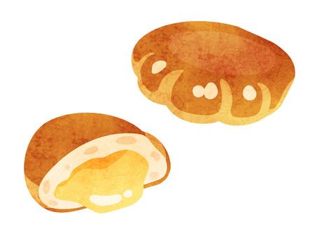 Cooking _ pan _ cream bread _ watercolor