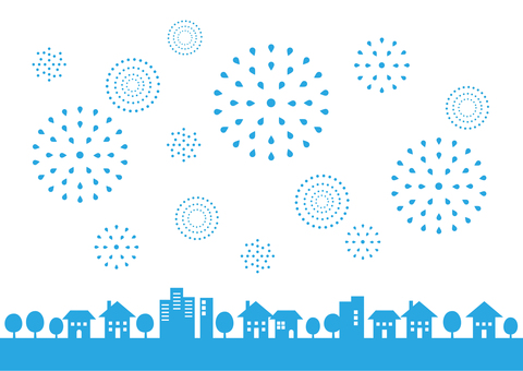 Townscape and fireworks scenery 02