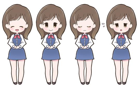 Female facial expression set_Uniform_201_B