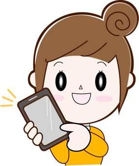 Smartphone (with), woman (bun head), upper body