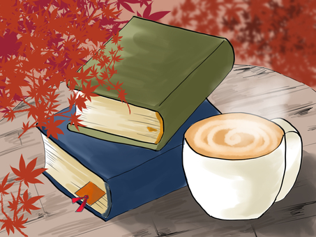 Fall of reading and coffee latte