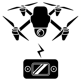 Drone and controller silhouette