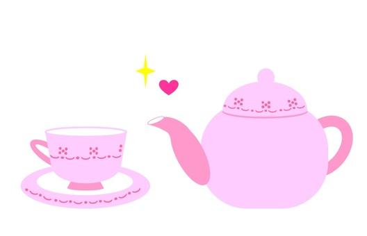찻잔과 주전자 핑크