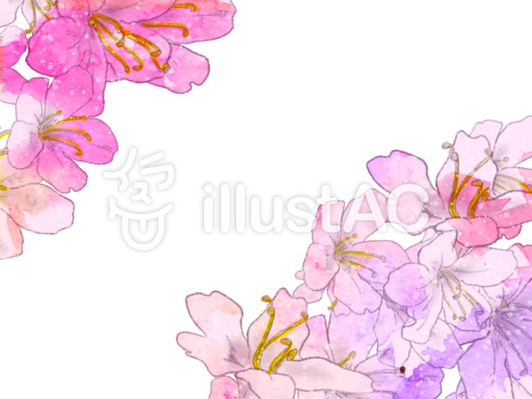 手描き水彩さつきフレームカードイラスト No 1035168無料イラスト