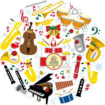 Christmas music illustration set
