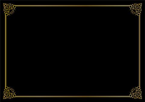金色と黒のシンプル飾り枠フレーム