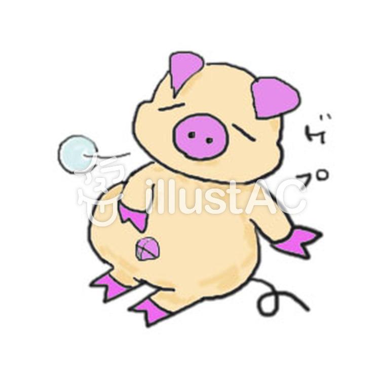 お腹いっぱいの豚2イラスト/イラストACはイラストが無料!商用利用もOK!ブログにこのイラストを貼る