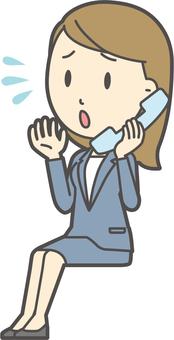 파란색 정장 여성 -309- 전신