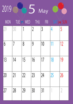 May Vertical Calendar