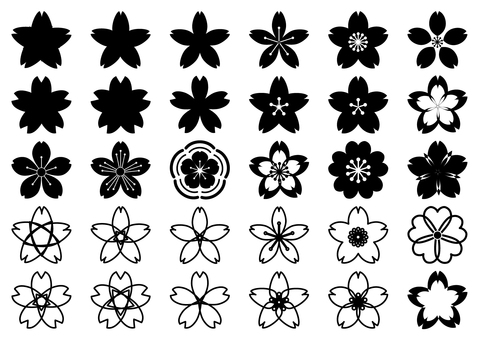 Black and white cherry blossom petite - cute Japanese style transparent png