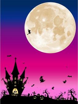 ハロウィン リアルな月の風景 ピンク