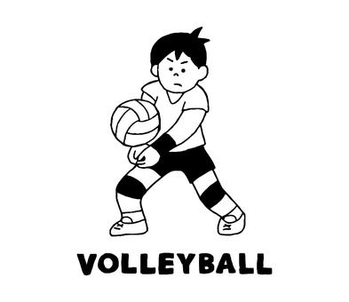 バレーボールをする男性(シンプル)