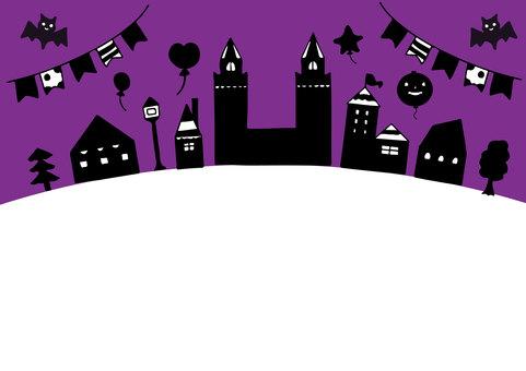 紫色流行可愛萬聖節框架