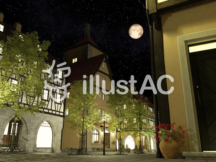 夜の街 : 中世建築風のイラスト