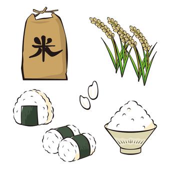 Rice, rice, rice ball and rice