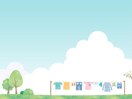 洗濯物・青空・フレーム