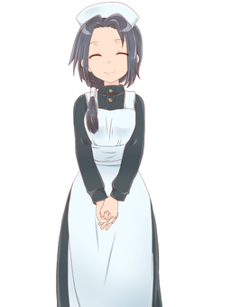 Apron dress girl standing picture (h)