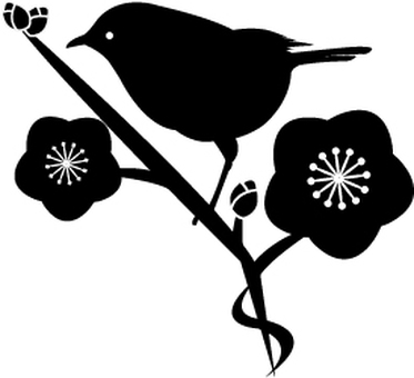Plum and gourd silhouette