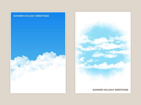 Rough watercolor touch blue sky illustration card