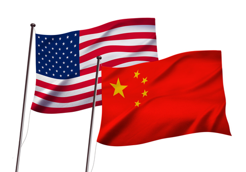 American and Chinese flag images