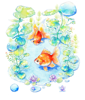 Goldfish and aquatic plants