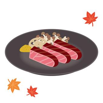 Autumn side dish steak