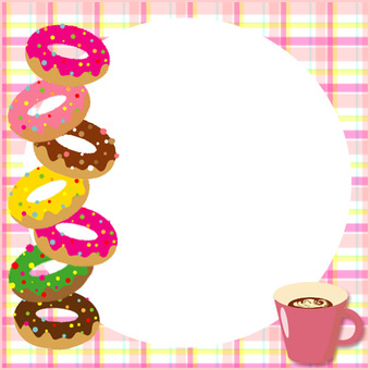Notepad of donut tower and coffee