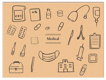 Hand drawn medicine medical black line
