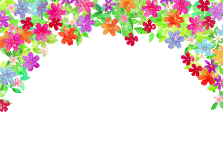 Hand drawn flowers and leaves frame / arch