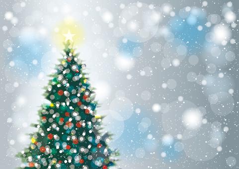 クリスマスツリーと雪1横 ブルーグレー