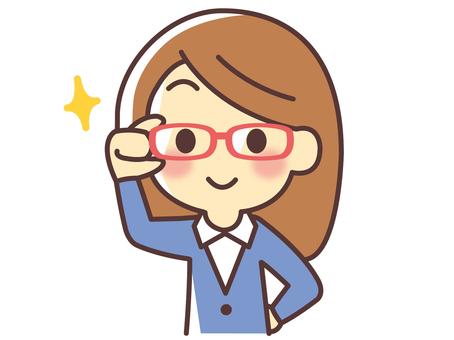 戴粉紅色眼鏡的女士(032)