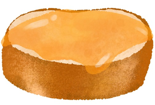 Illustration of bread with honey
