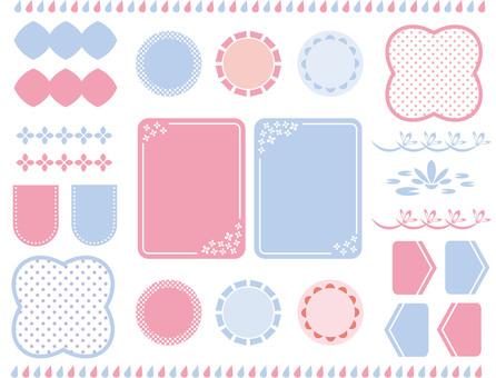 Set of light blue and pink frames
