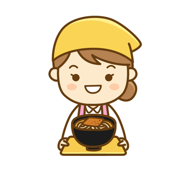 Apron woman carrying food
