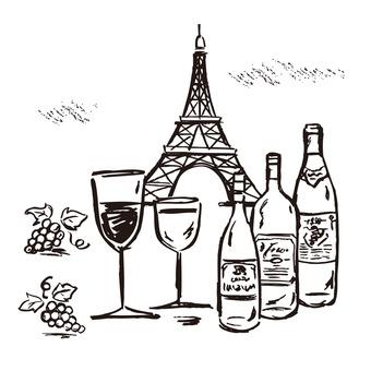 Paris, wine, grapes, Eiffel Tower
