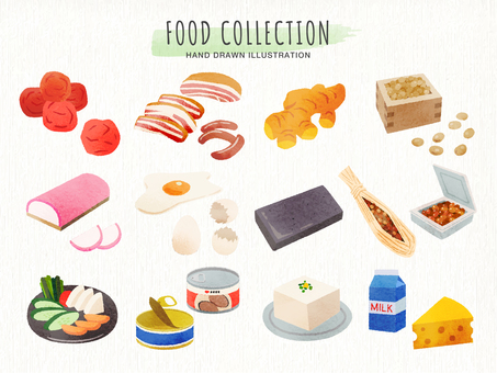 Hand-drawn style food ingredient set