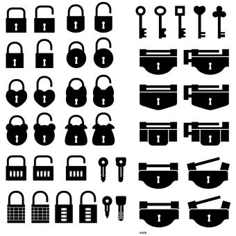 Icon set key and lock