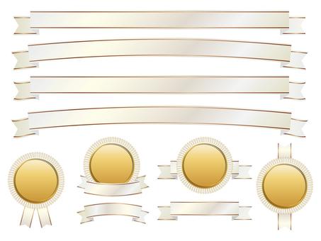 リボン&メダルセットホワイトゴールド01