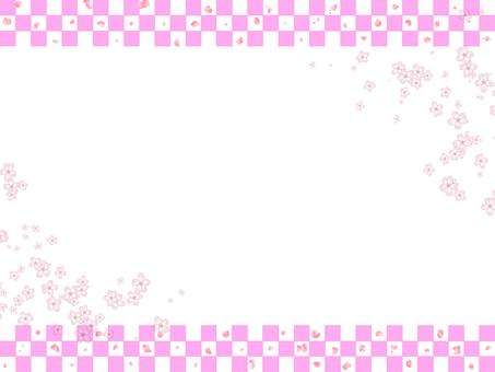Checkered pattern x cherry blossom