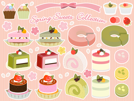Spring _ Illustration set of cute pastry