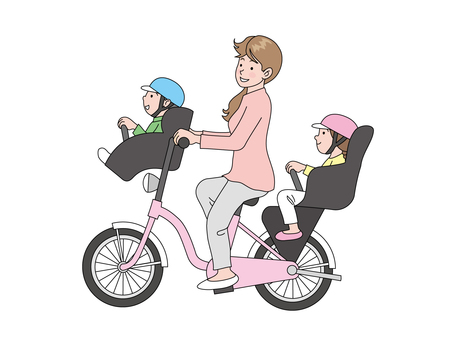 Children and mothers riding a bicycle