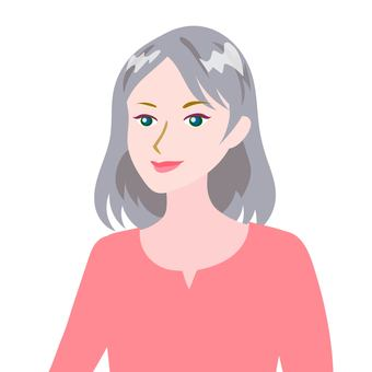 Gray haired woman pink