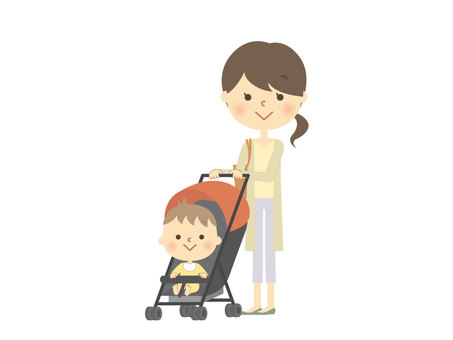 Mother and child of a stroller