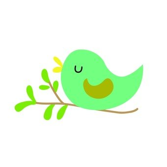 Green bird on twig