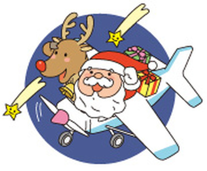 Airplane and Santa with background