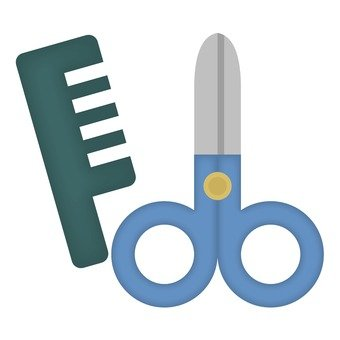 Comb and scissors, blue