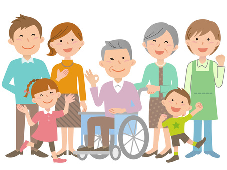 60201. Wheelchair, family and caregiver