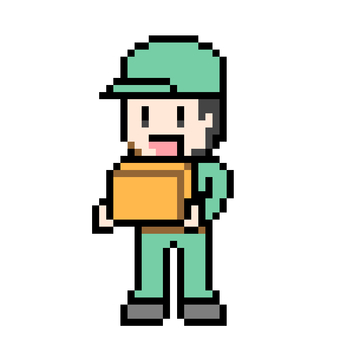 Pixel art of a deliveryman with luggage