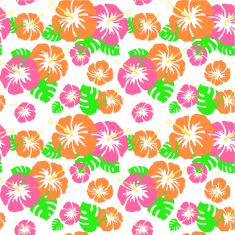 Hibiscus _ pattern _ light _ white